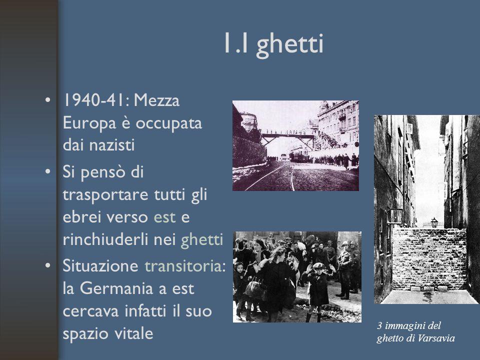 1.I ghetti 1940-41: Mezza Europa è occupata dai nazisti Si pensò di trasportare tutti gli ebrei verso est e rinchiuderli nei ghetti Situazione transit