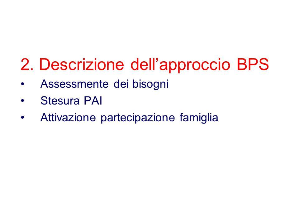 2. Descrizione dell'approccio BPS Assessmente dei bisogni Stesura PAI Attivazione partecipazione famiglia