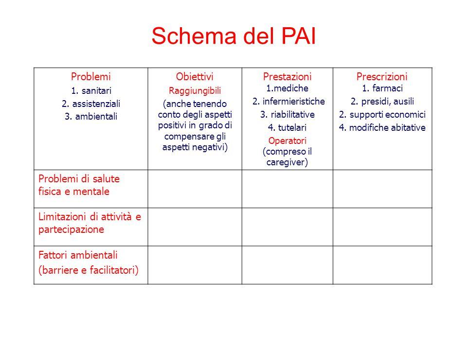 Problemi 1. sanitari 2. assistenziali 3. ambientali Obiettivi Raggiungibili (anche tenendo conto degli aspetti positivi in grado di compensare gli asp