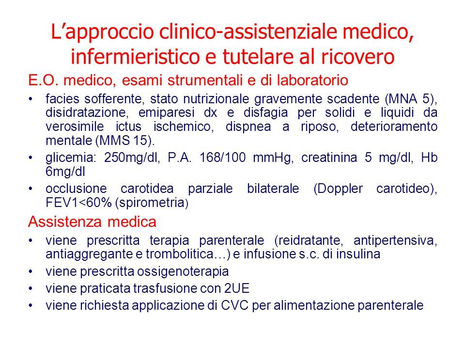 L'approccio clinico-assistenziale medico, infermieristico e tutelare al ricovero E.O. medico, esami strumentali e di laboratorio facies sofferente, st