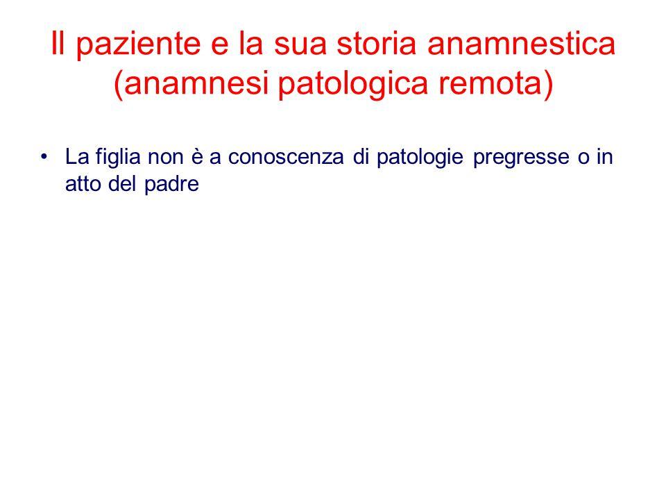 La figlia non è a conoscenza di patologie pregresse o in atto del padre Il paziente e la sua storia anamnestica (anamnesi patologica remota)