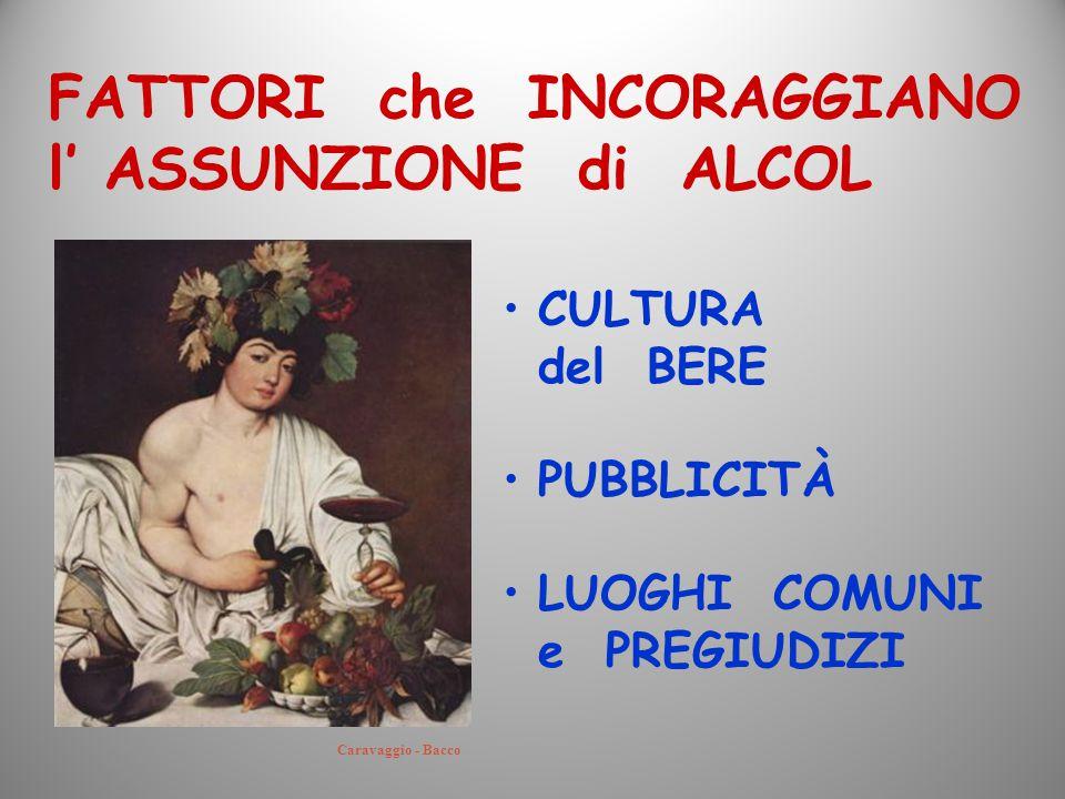 FATTORI che INCORAGGIANO l' ASSUNZIONE di ALCOL CULTURA del BERE PUBBLICITÀ LUOGHI COMUNI e PREGIUDIZI Caravaggio - Bacco