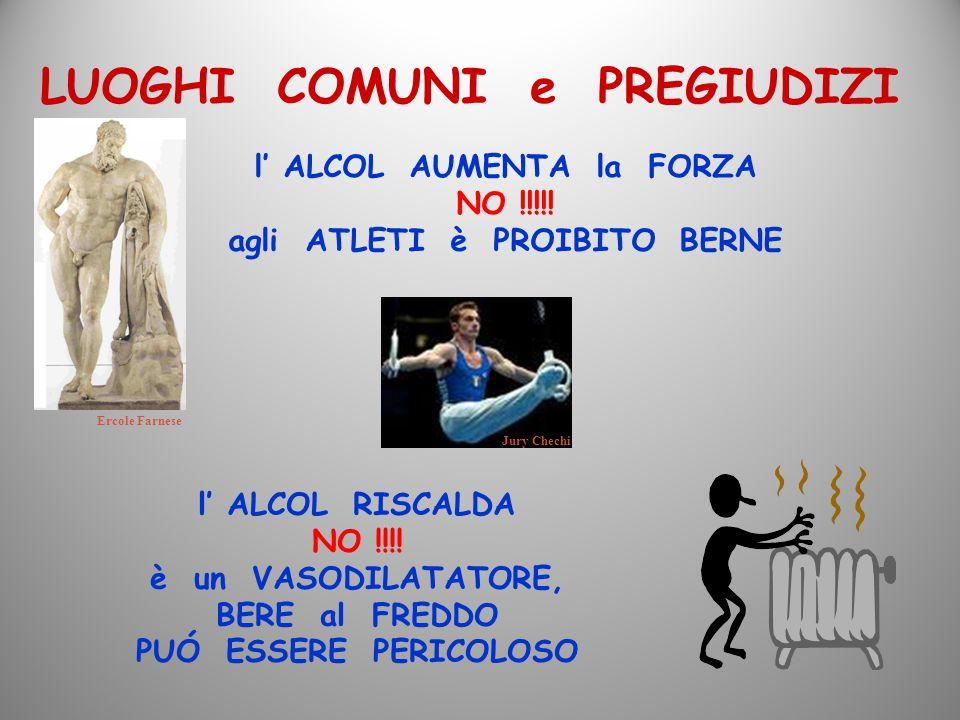 LUOGHI COMUNI e PREGIUDIZI l' ALCOL AUMENTA la FORZA NO !!!!! agli ATLETI è PROIBITO BERNE l' ALCOL RISCALDA NO !!!! è un VASODILATATORE, BERE al FRED