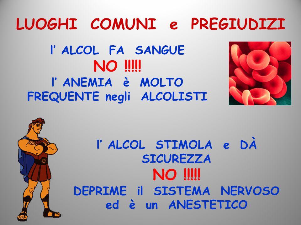 LUOGHI COMUNI e PREGIUDIZI l' ALCOL FA SANGUE NO !!!!! l' ANEMIA è MOLTO FREQUENTE negli ALCOLISTI l' ALCOL STIMOLA e DÀ SICUREZZA NO !!!!! DEPRIME il