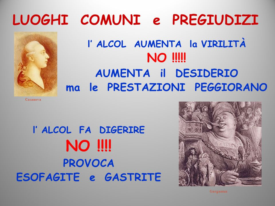 LUOGHI COMUNI e PREGIUDIZI Casanova Gargantua l' ALCOL AUMENTA la VIRILITÀ NO !!!!! AUMENTA il DESIDERIO ma le PRESTAZIONI PEGGIORANO l' ALCOL FA DIGE