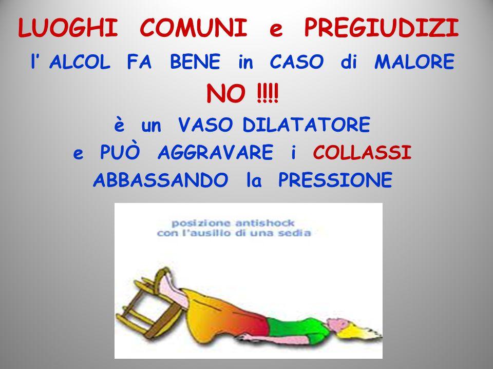 LUOGHI COMUNI e PREGIUDIZI l' ALCOL FA BENE in CASO di MALORE NO !!!! è un VASO DILATATORE e PUÒ AGGRAVARE i COLLASSI ABBASSANDO la PRESSIONE