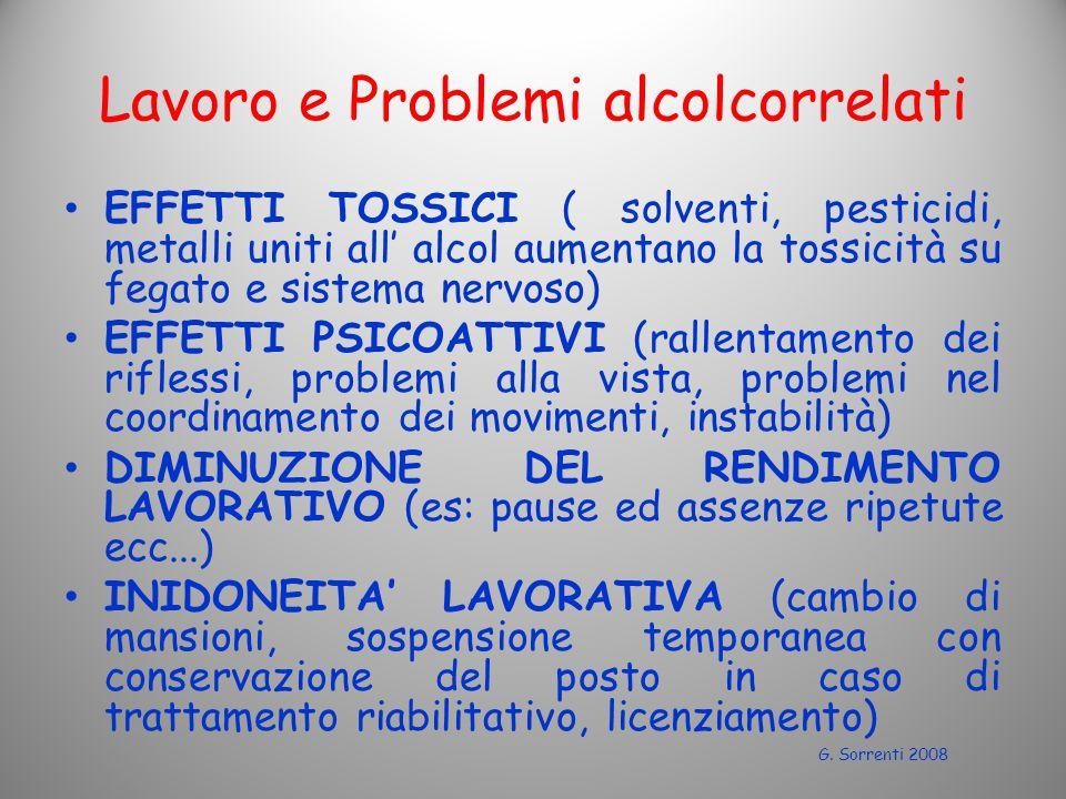 Lavoro e Problemi alcolcorrelati EFFETTI TOSSICI ( solventi, pesticidi, metalli uniti all' alcol aumentano la tossicità su fegato e sistema nervoso) 
