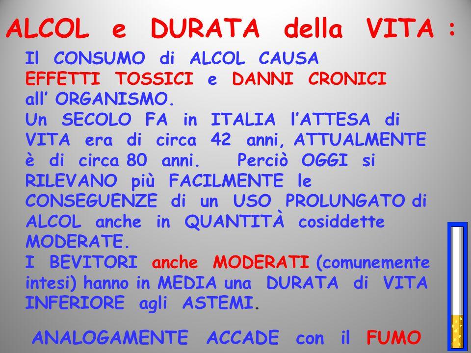 Il CONSUMO di ALCOL CAUSA EFFETTI TOSSICI e DANNI CRONICI all' ORGANISMO. Un SECOLO FA in ITALIA l'ATTESA di VITA era di circa 42 anni, ATTUALMENTE è