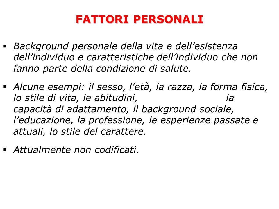 FATTORI PERSONALI  Background personale della vita e dell'esistenza dell'individuo e caratteristiche dell'individuo che non fanno parte della condizi