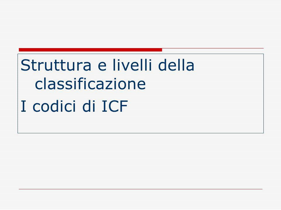 Struttura e livelli della classificazione I codici di ICF