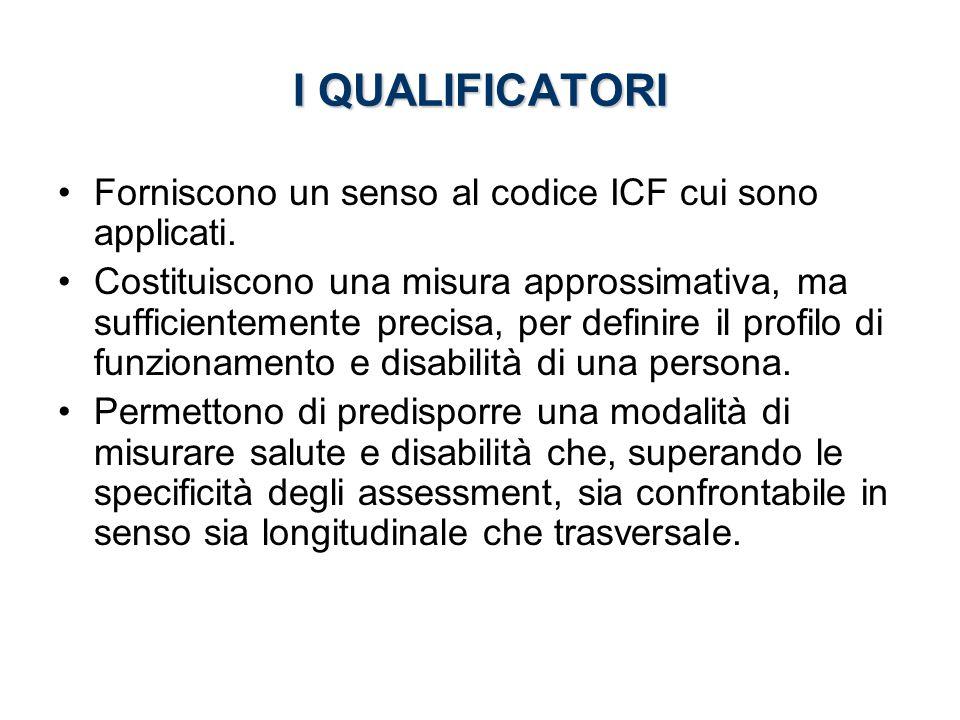Forniscono un senso al codice ICF cui sono applicati. Costituiscono una misura approssimativa, ma sufficientemente precisa, per definire il profilo di