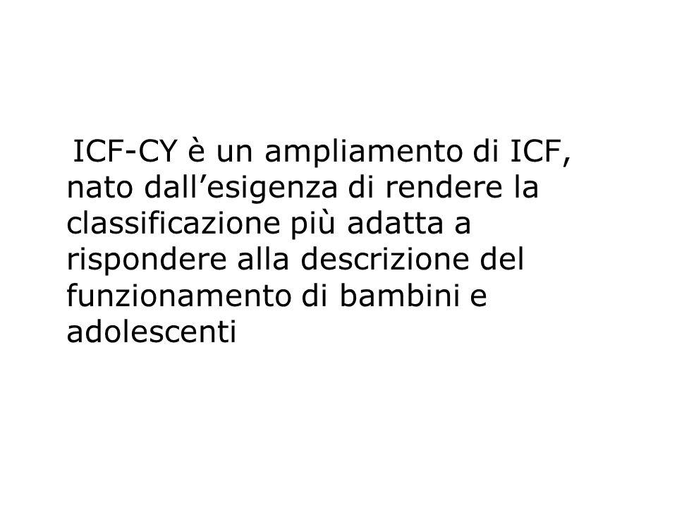 ICF-CY è un ampliamento di ICF, nato dall'esigenza di rendere la classificazione più adatta a rispondere alla descrizione del funzionamento di bambini
