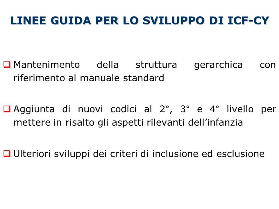 LINEE GUIDA PER LO SVILUPPO DI ICF-CY  Mantenimento della struttura gerarchica con riferimento al manuale standard  Aggiunta di nuovi codici al 2°,
