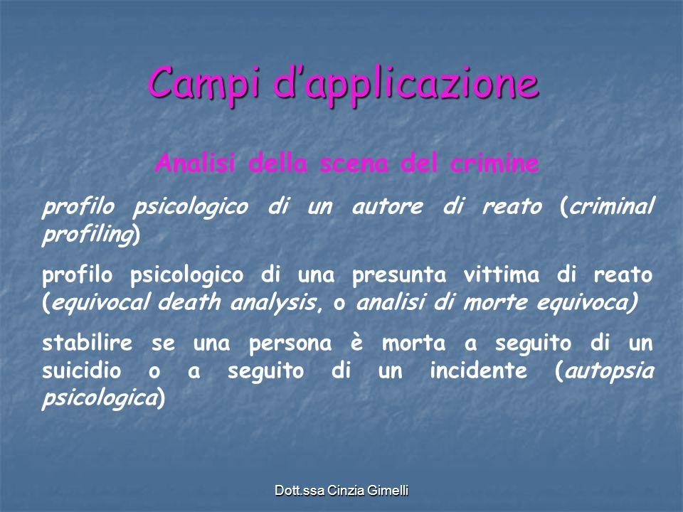 Dott.ssa Cinzia Gimelli Campi d'applicazione Analisi della scena del crimine profilo psicologico di un autore di reato (criminal profiling) profilo ps
