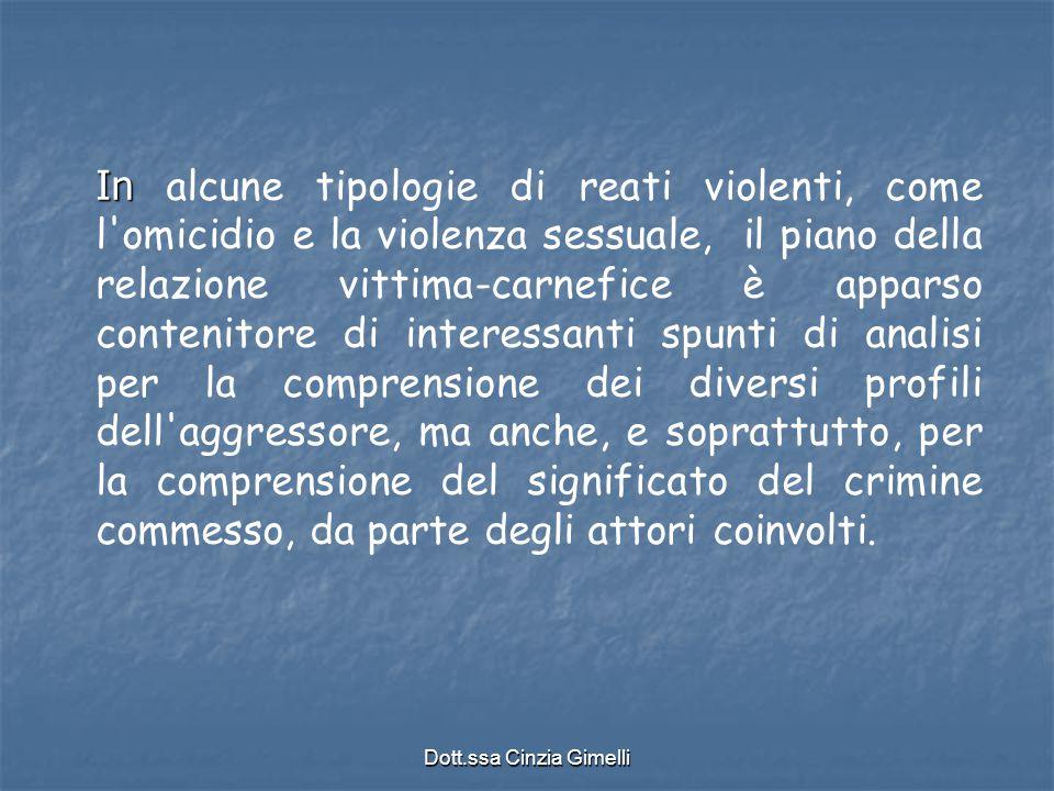 Dott.ssa Cinzia Gimelli In In alcune tipologie di reati violenti, come l'omicidio e la violenza sessuale, il piano della relazione vittima-carnefice è