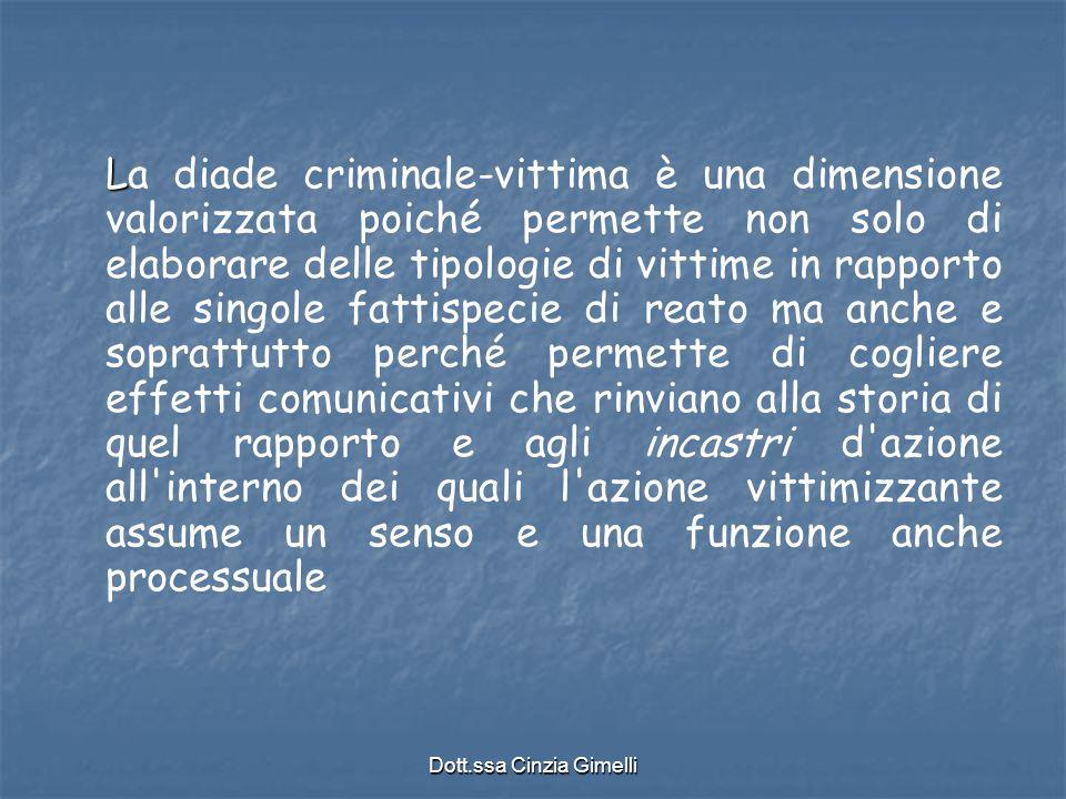Dott.ssa Cinzia Gimelli L La diade criminale-vittima è una dimensione valorizzata poiché permette non solo di elaborare delle tipologie di vittime in