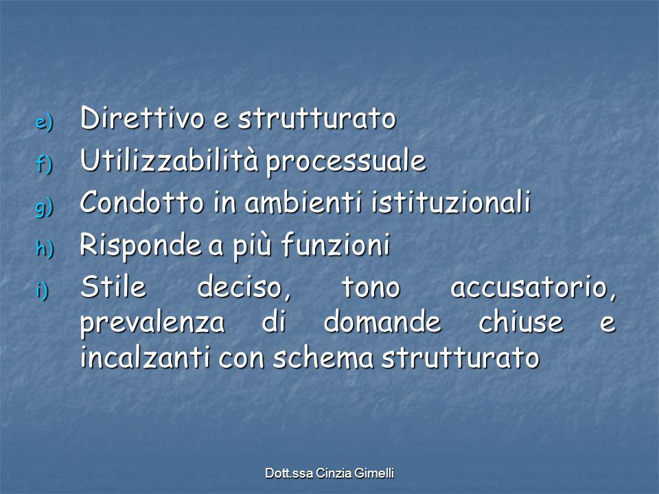 Dott.ssa Cinzia Gimelli e) Direttivo e strutturato f) Utilizzabilità processuale g) Condotto in ambienti istituzionali h) Risponde a più funzioni i) S