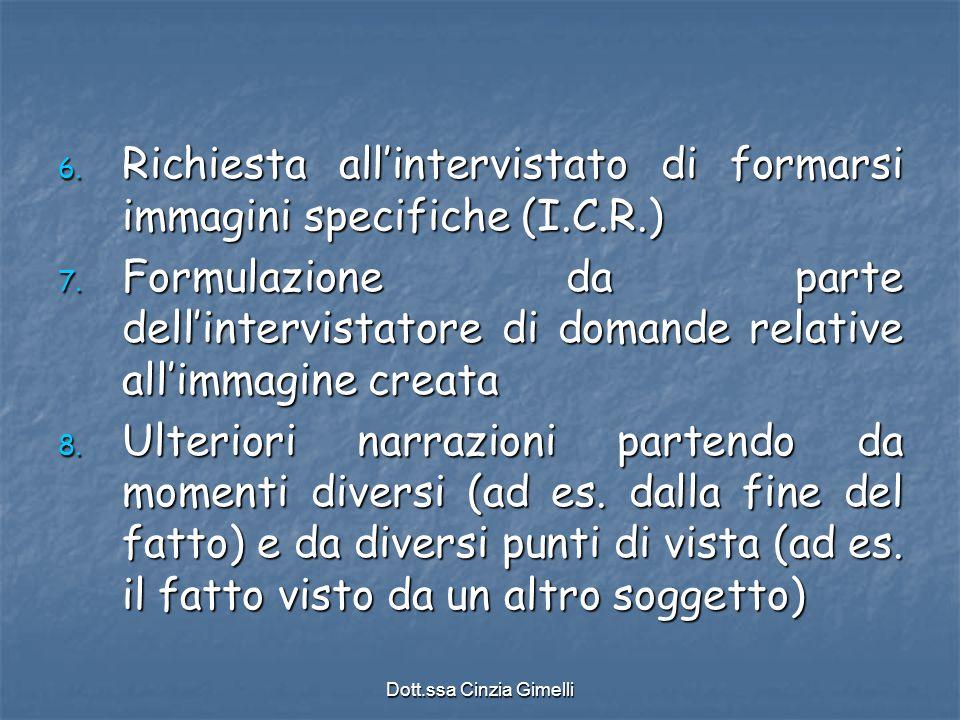 Dott.ssa Cinzia Gimelli 6. Richiesta all'intervistato di formarsi immagini specifiche (I.C.R.) 7. Formulazione da parte dell'intervistatore di domande