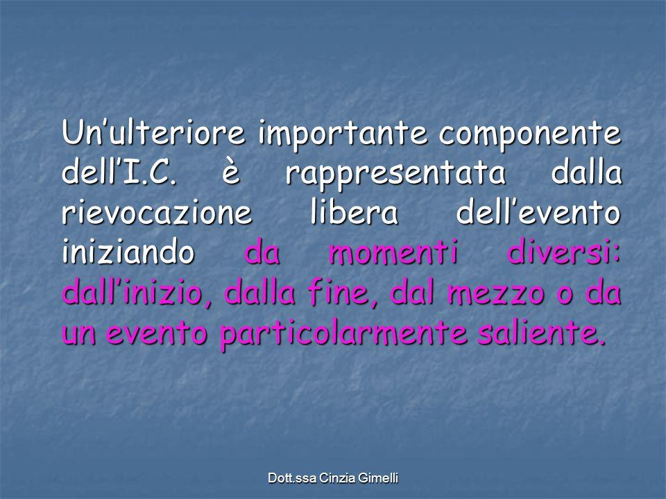 Dott.ssa Cinzia Gimelli Un'ulteriore importante componente dell'I.C. è rappresentata dalla rievocazione libera dell'evento iniziando da momenti divers