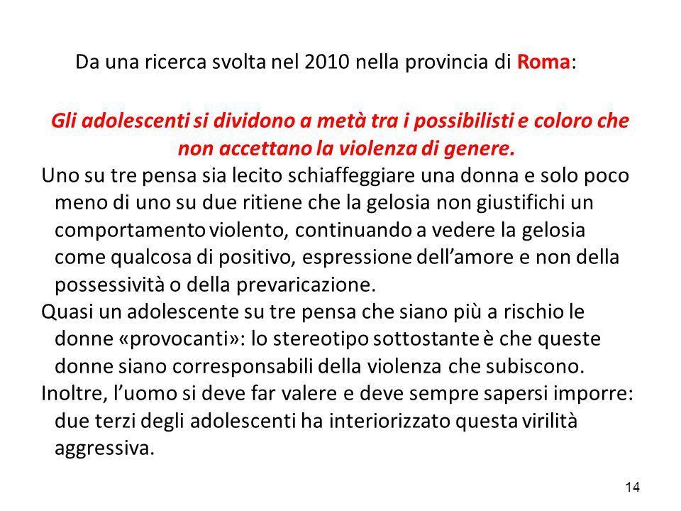 Da una ricerca svolta nel 2010 nella provincia di Roma: Gli adolescenti si dividono a metà tra i possibilisti e coloro che non accettano la violenza d