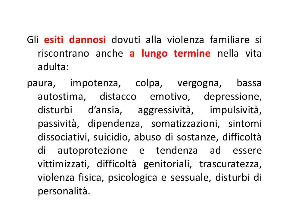 Gli esiti dannosi dovuti alla violenza familiare si riscontrano anche a lungo termine nella vita adulta: paura, impotenza, colpa, vergogna, bassa auto