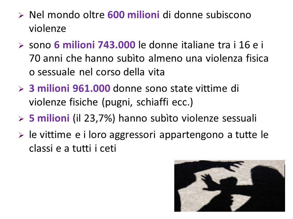  Nel mondo oltre 600 milioni di donne subiscono violenze  sono 6 milioni 743.000 le donne italiane tra i 16 e i 70 anni che hanno subìto almeno una