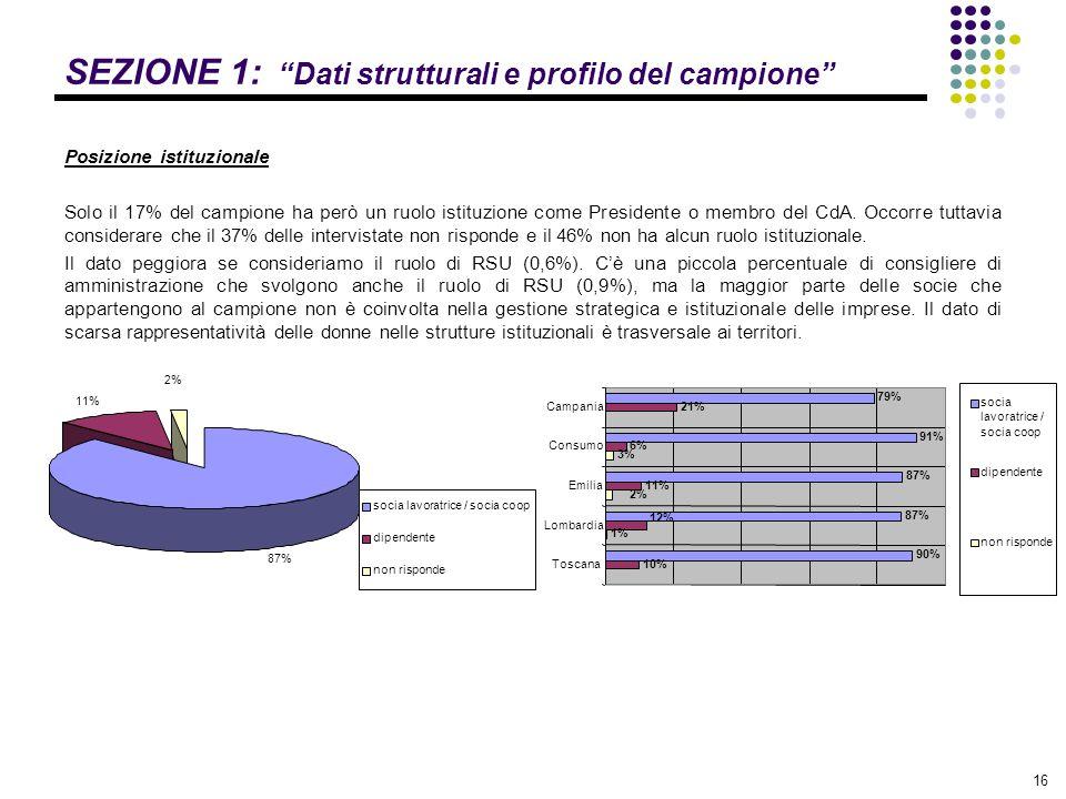 """16 SEZIONE 1: """"Dati strutturali e profilo del campione"""" Posizione istituzionale Solo il 17% del campione ha però un ruolo istituzione come Presidente"""