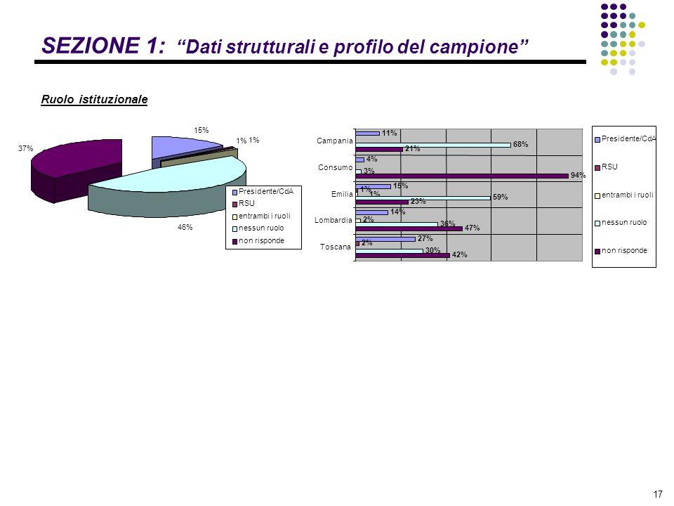 """17 SEZIONE 1: """"Dati strutturali e profilo del campione"""" Ruolo istituzionale 15% 1% 46% 37% 1% Presidente/CdA RSU entrambi i ruoli nessun ruolo non ris"""