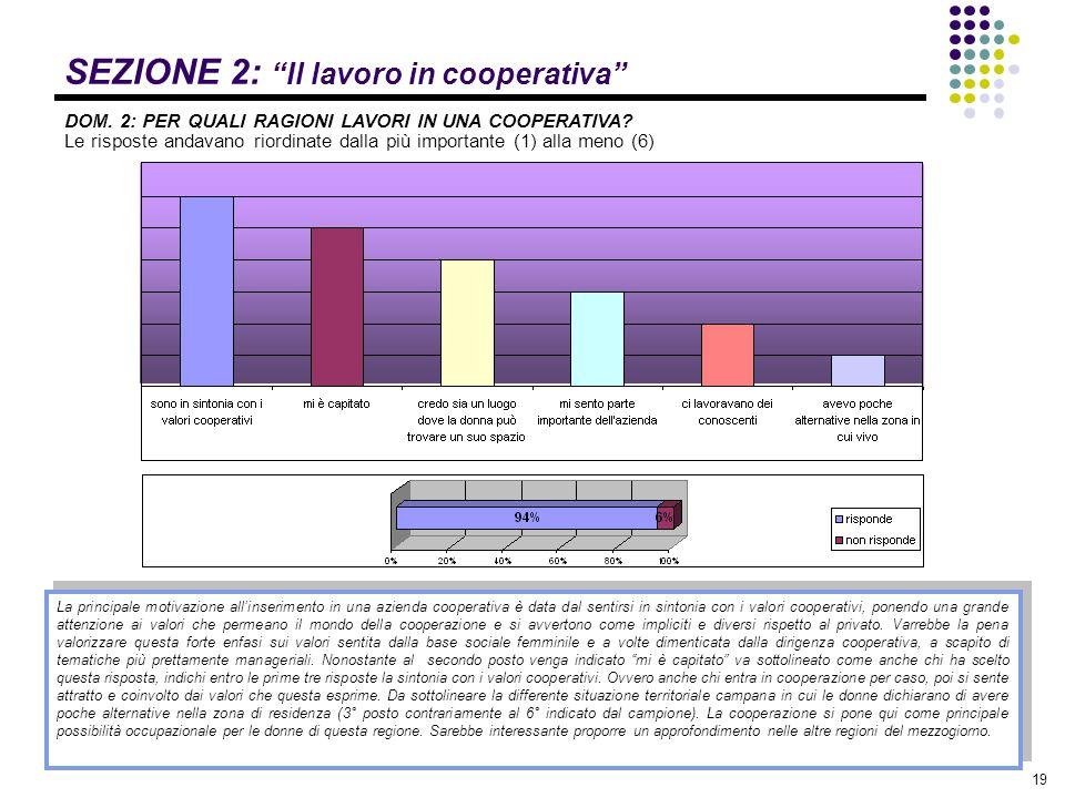 """19 SEZIONE 2: """"Il lavoro in cooperativa"""" DOM. 2: PER QUALI RAGIONI LAVORI IN UNA COOPERATIVA? Le risposte andavano riordinate dalla più importante (1)"""