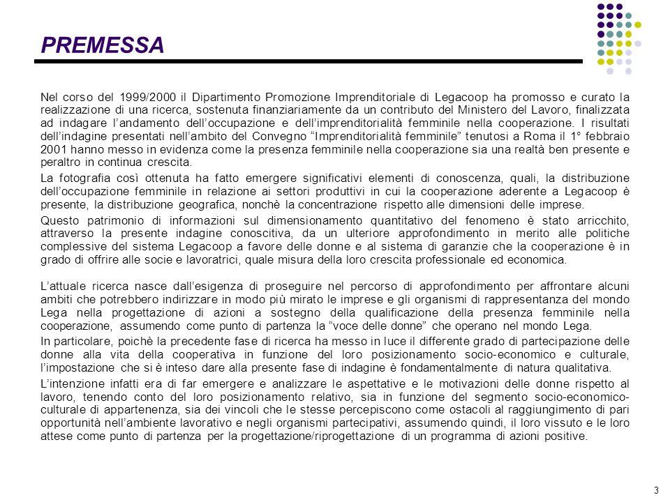 3 PREMESSA Nel corso del 1999/2000 il Dipartimento Promozione Imprenditoriale di Legacoop ha promosso e curato la realizzazione di una ricerca, sosten