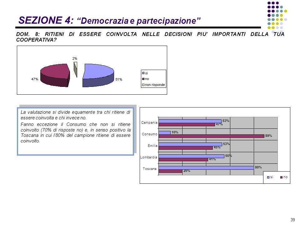 """39 SEZIONE 4: """"Democrazia e partecipazione"""" DOM. 8: RITIENI DI ESSERE COINVOLTA NELLE DECISIONI PIU' IMPORTANTI DELLA TUA COOPERATIVA? La valutazione"""