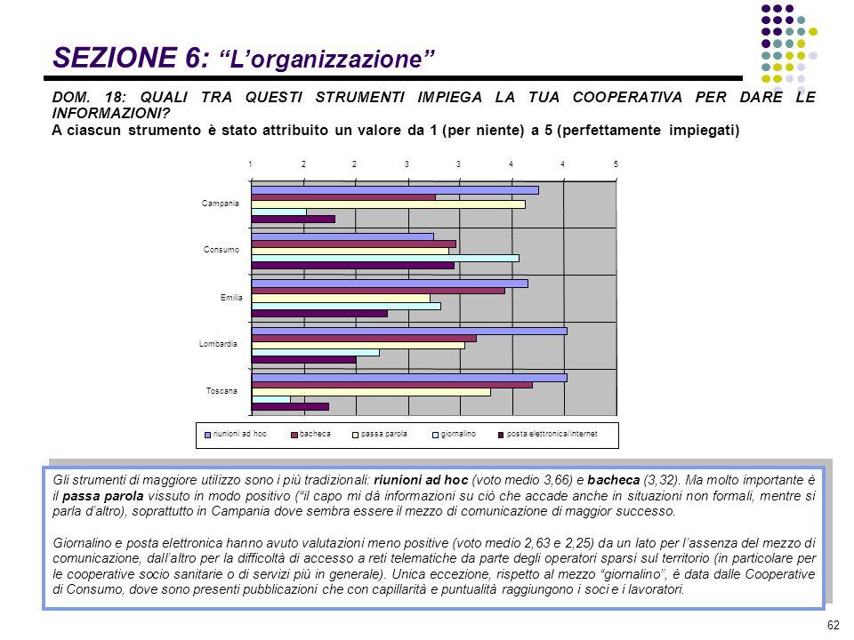 """62 SEZIONE 6: """"L'organizzazione"""" DOM. 18: QUALI TRA QUESTI STRUMENTI IMPIEGA LA TUA COOPERATIVA PER DARE LE INFORMAZIONI? A ciascun strumento è stato"""