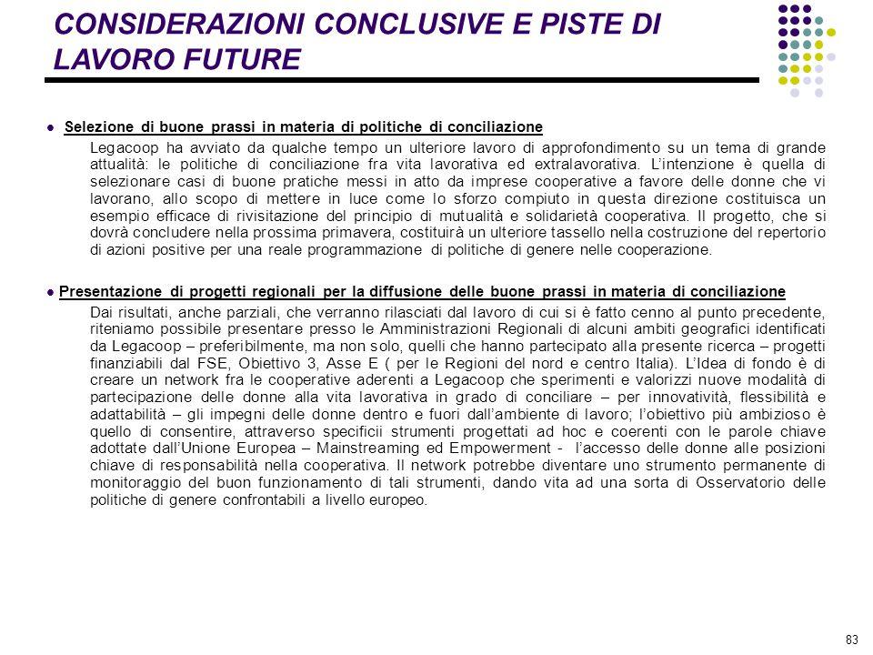 83 CONSIDERAZIONI CONCLUSIVE E PISTE DI LAVORO FUTURE Selezione di buone prassi in materia di politiche di conciliazione Legacoop ha avviato da qualch