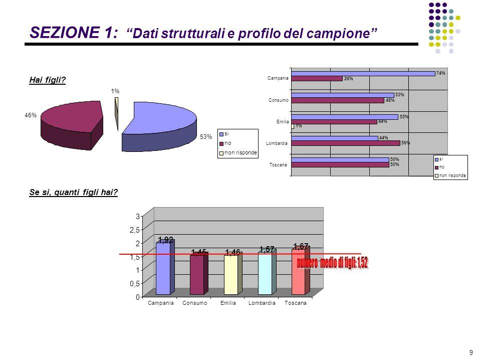 10 SEZIONE 1: Dati strutturali e profilo del campione Hai altre persone a carico.
