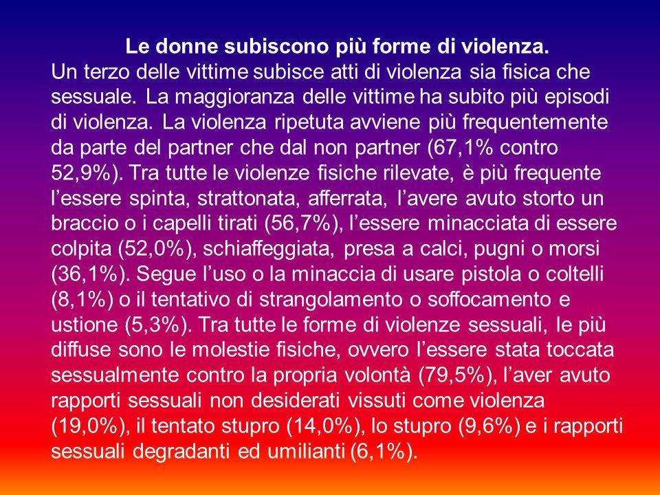 Le donne subiscono più forme di violenza.