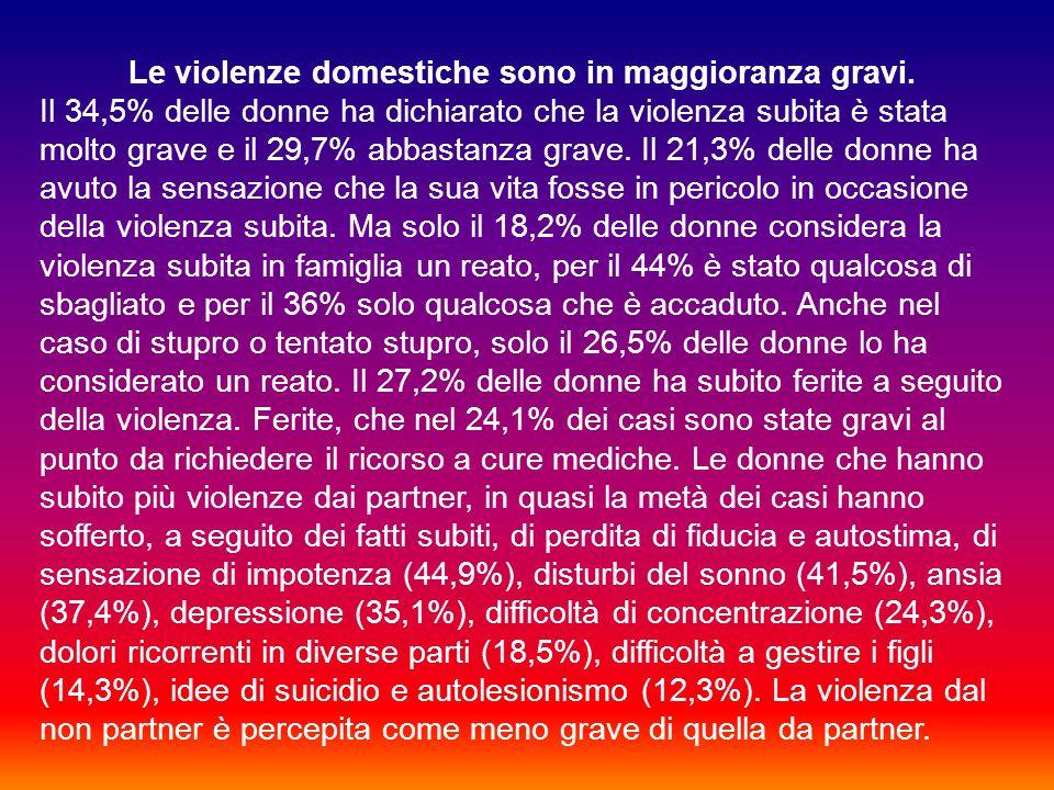 Le violenze domestiche sono in maggioranza gravi.