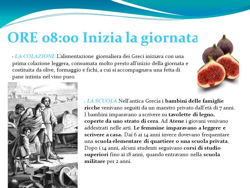 ORE 08:00 Inizia la giornata LA COLAZIONE L'alimentazione giornaliera dei Greci iniziava con una prima colazione leggera, consumata molto presto all'i