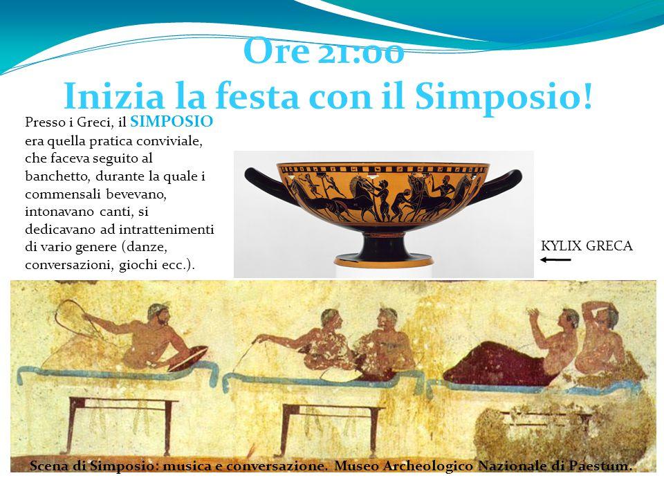 Ore 21:00 Inizia la festa con il Simposio! Scena di Simposio: musica e conversazione. Museo Archeologico Nazionale di Paestum. Presso i Greci, il SIMP