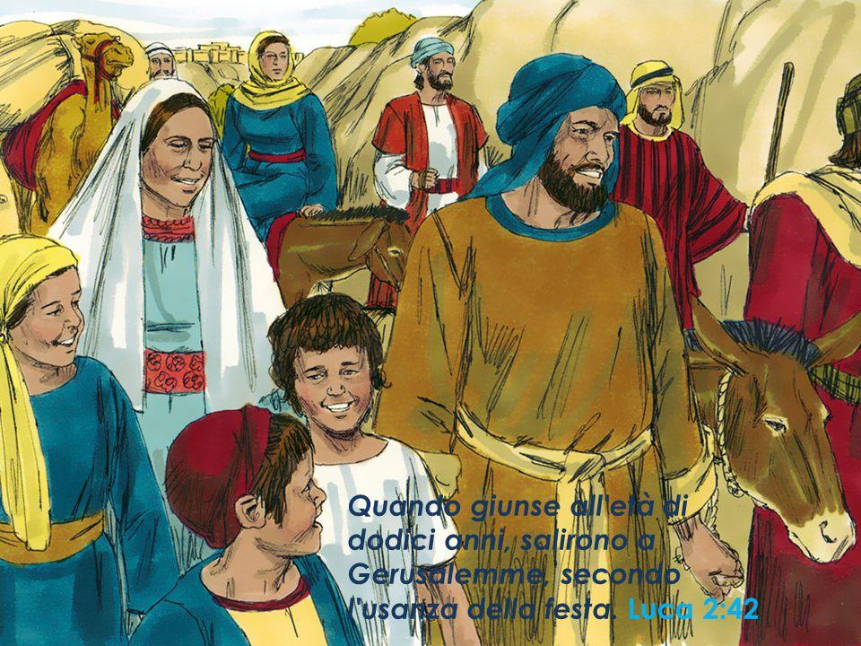 Quando giunse all'età di dodici anni, salirono a Gerusalemme, secondo l'usanza della festa. Luca 2:42