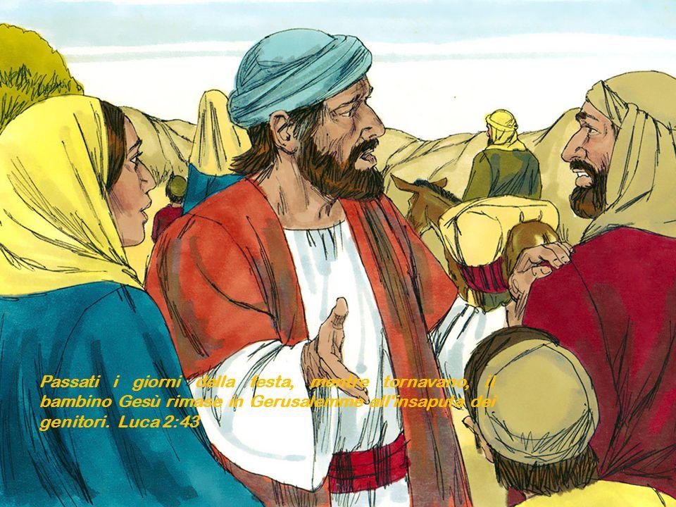 Passati i giorni della festa, mentre tornavano, il bambino Gesù rimase in Gerusalemme all'insaputa dei genitori. Luca 2:43