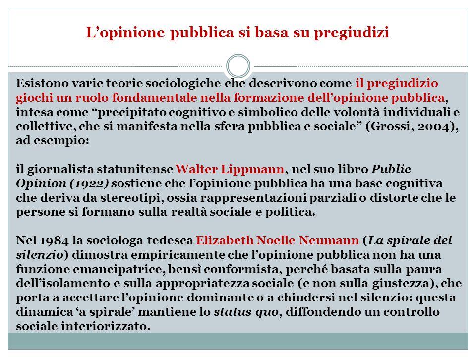 L'opinione pubblica si basa su pregiudizi Esistono varie teorie sociologiche che descrivono come il pregiudizio giochi un ruolo fondamentale nella formazione dell'opinione pubblica, intesa come precipitato cognitivo e simbolico delle volontà individuali e collettive, che si manifesta nella sfera pubblica e sociale (Grossi, 2004), ad esempio: il giornalista statunitense Walter Lippmann, nel suo libro Public Opinion (1922) sostiene che l'opinione pubblica ha una base cognitiva che deriva da stereotipi, ossia rappresentazioni parziali o distorte che le persone si formano sulla realtà sociale e politica.