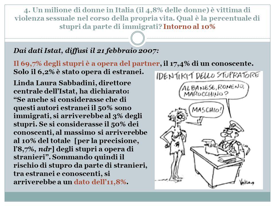 4. Un milione di donne in Italia (il 4,8% delle donne) è vittima di violenza sessuale nel corso della propria vita. Qual è la percentuale di stupri da
