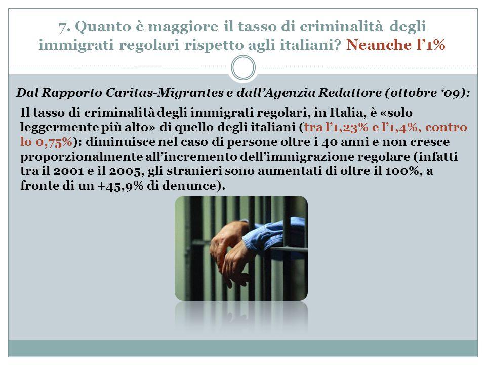7. Quanto è maggiore il tasso di criminalità degli immigrati regolari rispetto agli italiani.