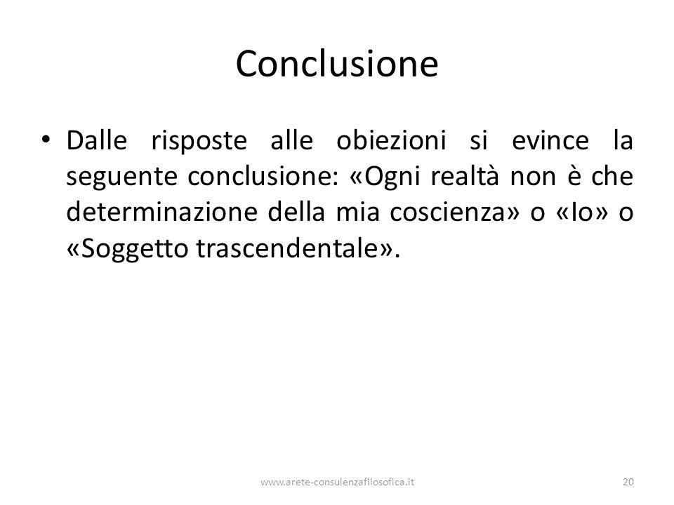 Conclusione Dalle risposte alle obiezioni si evince la seguente conclusione: «Ogni realtà non è che determinazione della mia coscienza» o «Io» o «Sogg