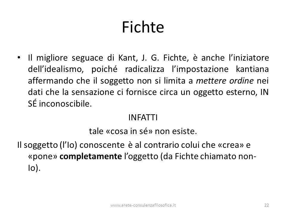 Fichte Il migliore seguace di Kant, J. G. Fichte, è anche l'iniziatore dell'idealismo, poiché radicalizza l'impostazione kantiana affermando che il so