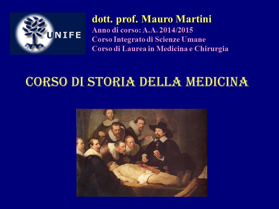 Corso di Storia della Medicina dott. prof. Mauro Martini Anno di corso: A.A. 2014/2015 Corso Integrato di Scienze Umane Corso di Laurea in Medicina e