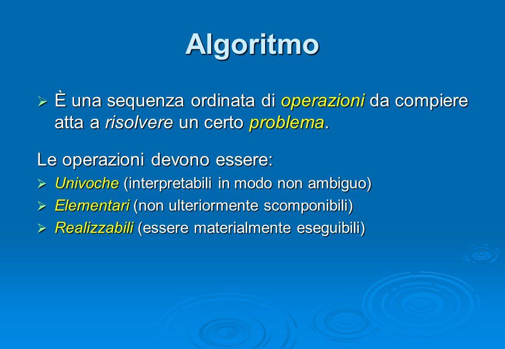 Algoritmo  È una sequenza ordinata di operazioni da compiere atta a risolvere un certo problema. Le operazioni devono essere:  Univoche (interpretab