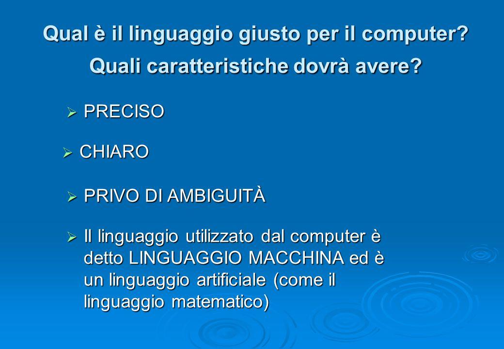 Qual è il linguaggio giusto per il computer? Quali caratteristiche dovrà avere?  PRECISO  PRIVO DI AMBIGUITÀ  Il linguaggio utilizzato dal computer