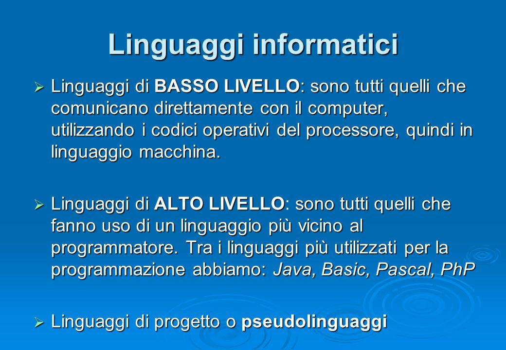 Linguaggi informatici  Linguaggi di BASSO LIVELLO: sono tutti quelli che comunicano direttamente con il computer, utilizzando i codici operativi del