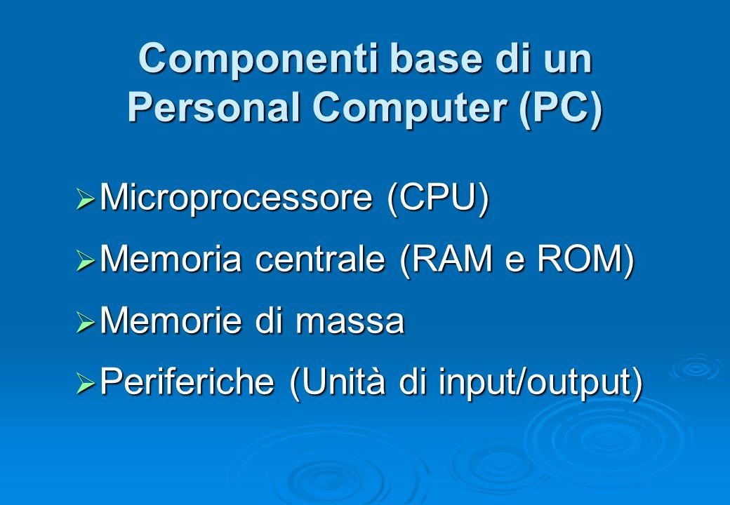 Componenti base di un Personal Computer (PC)  Microprocessore (CPU)  Memoria centrale (RAM e ROM)  Memorie di massa  Periferiche (Unità di input/o